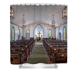 Simple Worship Shower Curtain by Andy Crawford