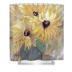 Shower Curtain featuring the painting Simply Sunflowers  by Robin Maria Pedrero