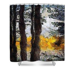 Simulated Van Gogh Scene Shower Curtain by Craig Walters