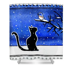 Sing For Me - Black Cat Card Shower Curtain