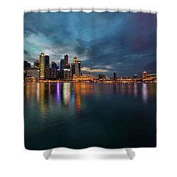Singapore City Skyline At Evening Twilight Shower Curtain by David Gn