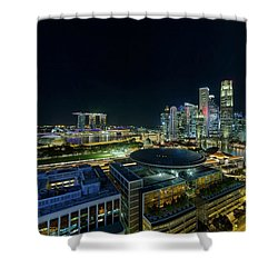 Singapore Modern Skyline By The River At Night Shower Curtain by David Gn