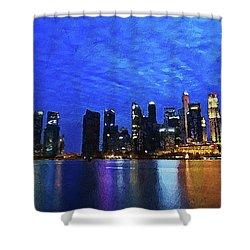 Shower Curtain featuring the digital art Singapore City by PixBreak Art