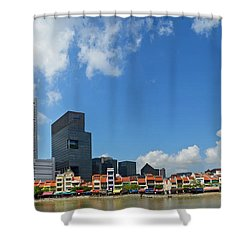 Singapore River Front Shower Curtain by Eva Kaufman