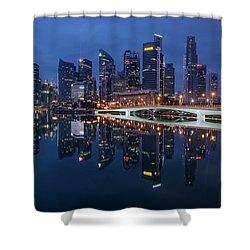 Singapore Skyline Reflection Shower Curtain
