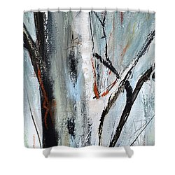 Shower Curtain featuring the painting Single Aspen by Cher Devereaux