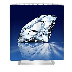 Single Blue Diamond Shower Curtain by Setsiri Silapasuwanchai