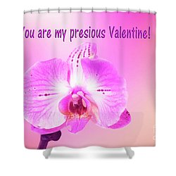 Shower Curtain featuring the photograph Single Orchid Valentine by Linda Phelps