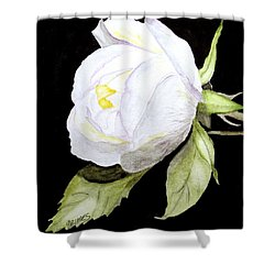 Single White  Bloom  Shower Curtain