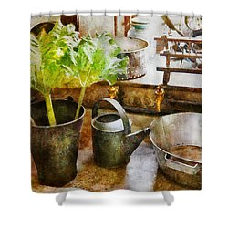 Sink - Eat Your Greens Shower Curtain by Mike Savad