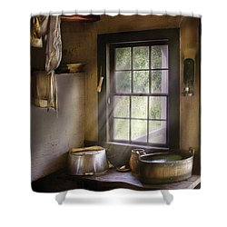 Sink - Please Wash Your Hands Shower Curtain by Mike Savad