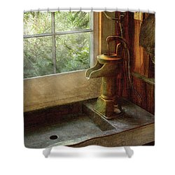 Sink - Water Pump Shower Curtain by Mike Savad