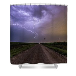 Shower Curtain featuring the photograph Sioux Falls Lightning by Aaron J Groen