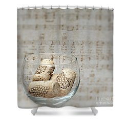 Sipping Wine While Listening To Music Shower Curtain by Sherry Hallemeier