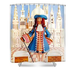 Sir Christopher Wren - St Paul's Cathedral - London Underground, London Metro - Retro Travel Poster Shower Curtain