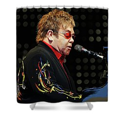 Sir Elton John At The Piano Shower Curtain by Elaine Plesser