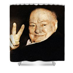Sir Winston Churchill Victory Shower Curtain