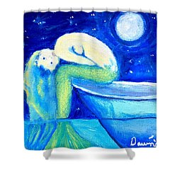 Shower Curtain featuring the painting Siren Sea by Dawn Harrell