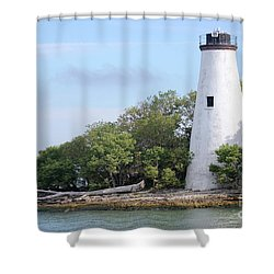 Sister Island Lighthouse Shower Curtain