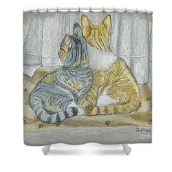 Shower Curtain featuring the drawing Sisters  by Carol Wisniewski