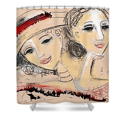Sisters Shower Curtain by Elaine Lanoue