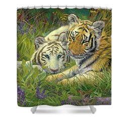 Sisters Shower Curtain by Lucie Bilodeau
