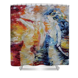 Shower Curtain featuring the painting Sisters by Marat Essex