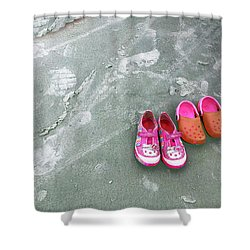 Sisters Playing Barefoot In The Sand Shower Curtain