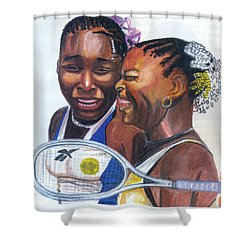 Sisters Williams Shower Curtain by Emmanuel Baliyanga