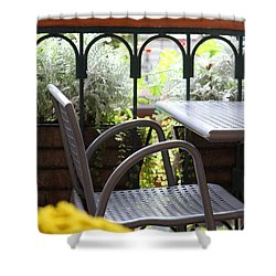Shower Curtain featuring the photograph Sit A While by Laddie Halupa