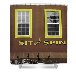 Shower Curtain featuring the mixed media Sit And Spin Laundromat Color- By Linda Woods by Linda Woods