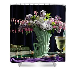 Sit, Sip And Smell, May 2017 Shower Curtain by Wendy Blomseth