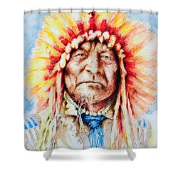 Sitting Bear Shower Curtain by Victor Minca