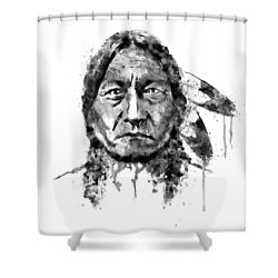 Shower Curtain featuring the mixed media Sitting Bull Black And White by Marian Voicu
