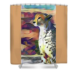Sitting Cheetah  Shower Curtain
