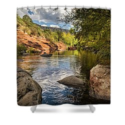 Shower Curtain featuring the photograph Sitting Creekside Oak Creek  by Saija Lehtonen