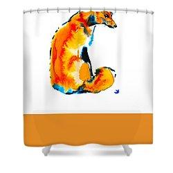 Shower Curtain featuring the painting Sitting Fox by Zaira Dzhaubaeva