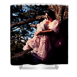 Sitting In A Tree Shower Curtain by Scott Sawyer