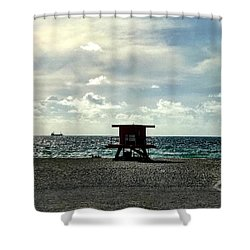 Sitting On The Beach Shower Curtain