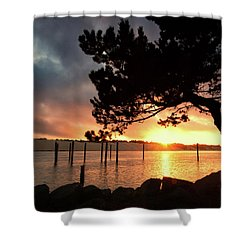 Siuslaw River Autumn Sunset Shower Curtain