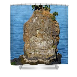 Siwash Rock By Stanley Park Shower Curtain by David Gn