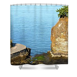 Siwash Rock By Stanley Park Seawall Shower Curtain by David Gn