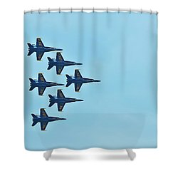 Six Blue Angels In The Clear Blue Sky Shower Curtain