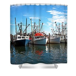 Shower Curtain featuring the photograph Six Boats In The Bay by John Rizzuto