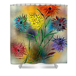 Six Flowers - E Shower Curtain by Greg Moores
