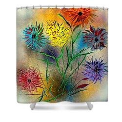 Six Flowers - E Shower Curtain