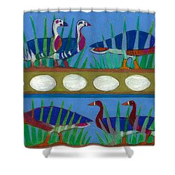 Shower Curtain featuring the painting Six Geese-a-layin by Denise Weaver Ross