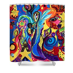 Shower Curtain featuring the painting Guardian Angel by Marina Petro