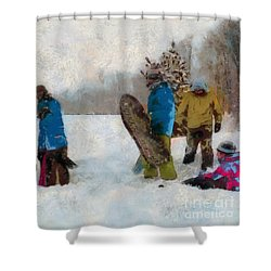 Six Sledders In The Snow Shower Curtain by Claire Bull