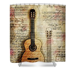 Six String Sages Shower Curtain by Gary Bodnar